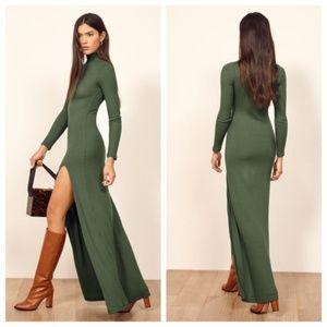 Reformation Albee Green Slit Long Sleeve Dress